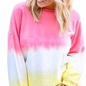 XL AlvaQ Women Crewneck Colorblock Tie Dye Shirt